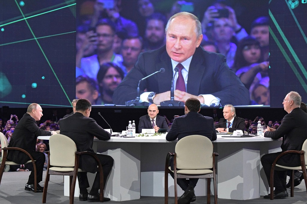 Russian President Vladimir Putin spoke at the plenary session of the Artificial Intelligence Journey conference